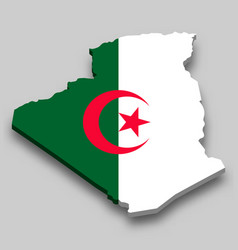 3d isometric map algeria with national flag vector