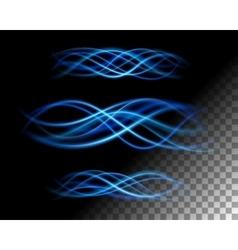 Abstract lights waves lines on transparent vector