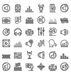 Acoustics icons set outline style vector