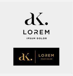 Ak k letter linked luxury premium logo vector