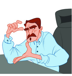 An angry man with a mustache in a blue shirt vector