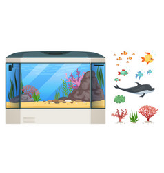 Aquarium cartoon fish seaweed or water plants vector