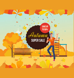 Autumn super sale background with seasonal leaves vector