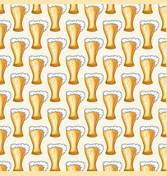 background pattern with beer glasses vector image