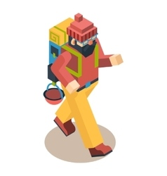 Backpacker Traveler Polygonal Character Walk vector image