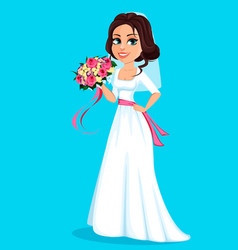 beautiful bride holding bouquet flowers vector image