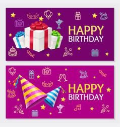 birthday banner card horizontal set vector image