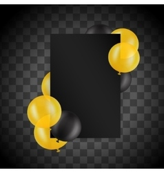 Black and gold ballons on transparent background vector image