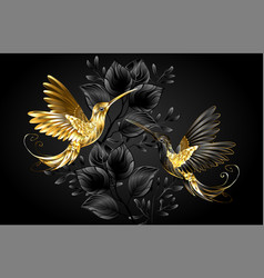 black and gold hummingbird vector image