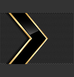 Black glossy gold line arrow gray circle mesh vector