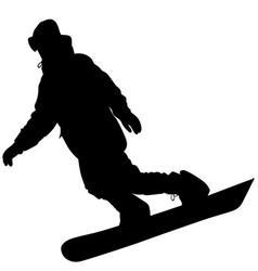 black silhouette of a snowboarder vector image
