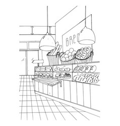 Bread department hand drawn black and white vector