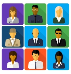 Business set of stylish avatars woman and man vector image