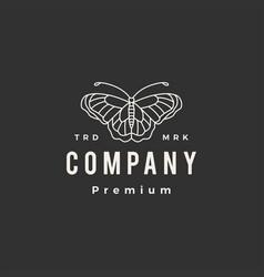 butterfly monoline outline hipster vintage logo vector image
