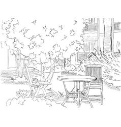 Cafe in the garden vector