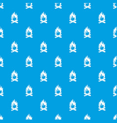 campfire pattern seamless blue vector image