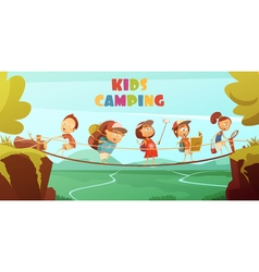 Camping kids background vector