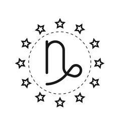 Capricorn sign of the zodiac flat symbol vector