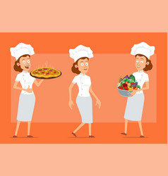 cartoon flat chef cook woman character set vector image