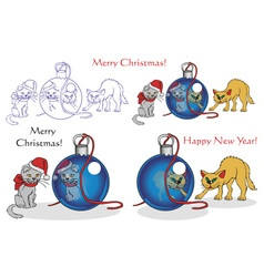 Cats and Christmas vector image