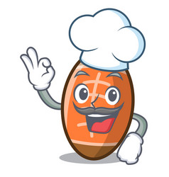 chef rugby ball character cartoon vector image