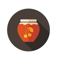 Cherry jam jar flat icon with long shadow vector image
