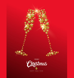 christmas and new year gold star party drink card vector image