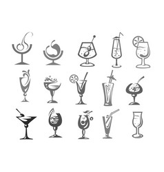 Cocktails glasses alcohol drinks bar icons vector