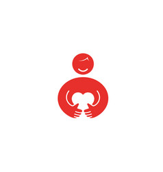 creative red person holding heart logo vector image