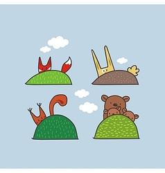 Cute Animals Hiding vector