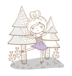 Cute girl cartoon stylish outfit nature trees vector