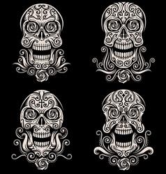 Day dead skull tattoo set vector