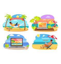 Distant work and freelance vector