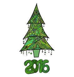 doodle card with christmas tree and date vector image