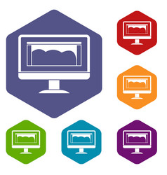 drawing monitor icons set hexagon vector image