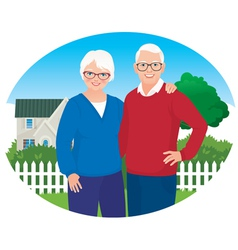 Elderly husband and wife are in their household vector image