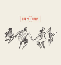 family jump joy together happiness freedom vector image
