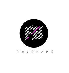 Fb letter logo design with white lines and black vector