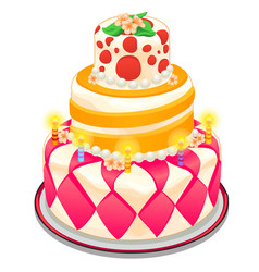 Festive cake with candles beads and flowers vector