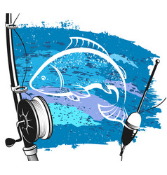 Fishing rod and float for fishing vector