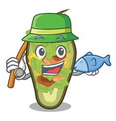 Fishing stuffed avocado on a character board vector