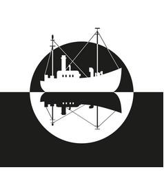 Fishing vessel icon vector
