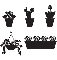 Flower pot set vector