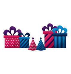gifts boxes present with hat party icon vector image
