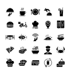 glyph restaurant and food icons vector image