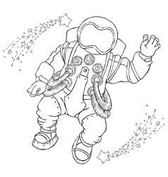 greeting astronaut in an orange space vector image