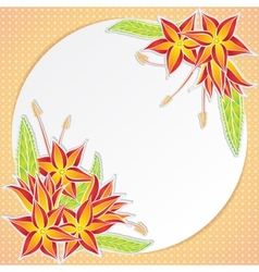 Greeting card with orange flowers vector