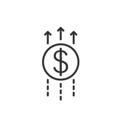 Growth arrow icon in flat style revenue on white vector