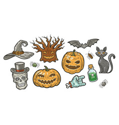 halloween symbol set holiday decorations vector image