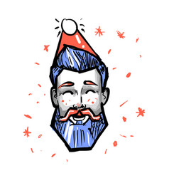 Happy hipster male new year christmas holiday red vector